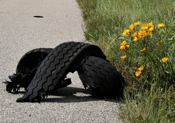 shredded tire along the side of an expressway nest to yellow wildflowers
