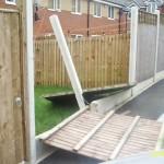 A smashed fence