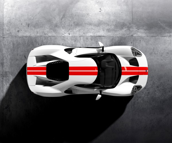 Ford GT complete with red go faster stripes